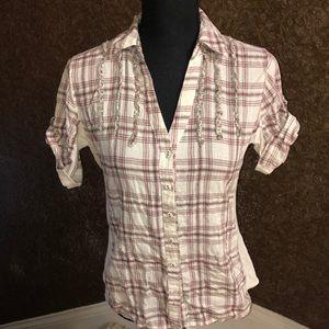 Tops - Maurice's Shortsleeved Plaid Shirt
